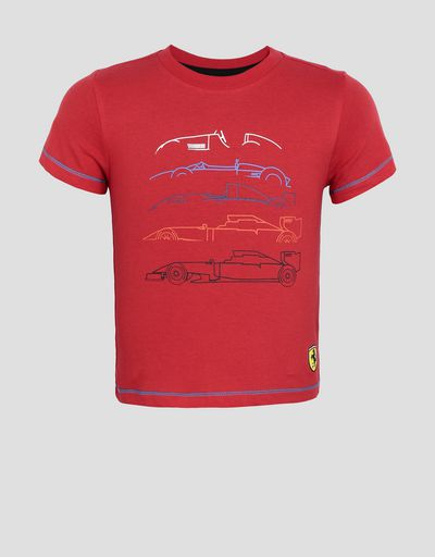 Kids' cotton jersey T-shirt with racing print