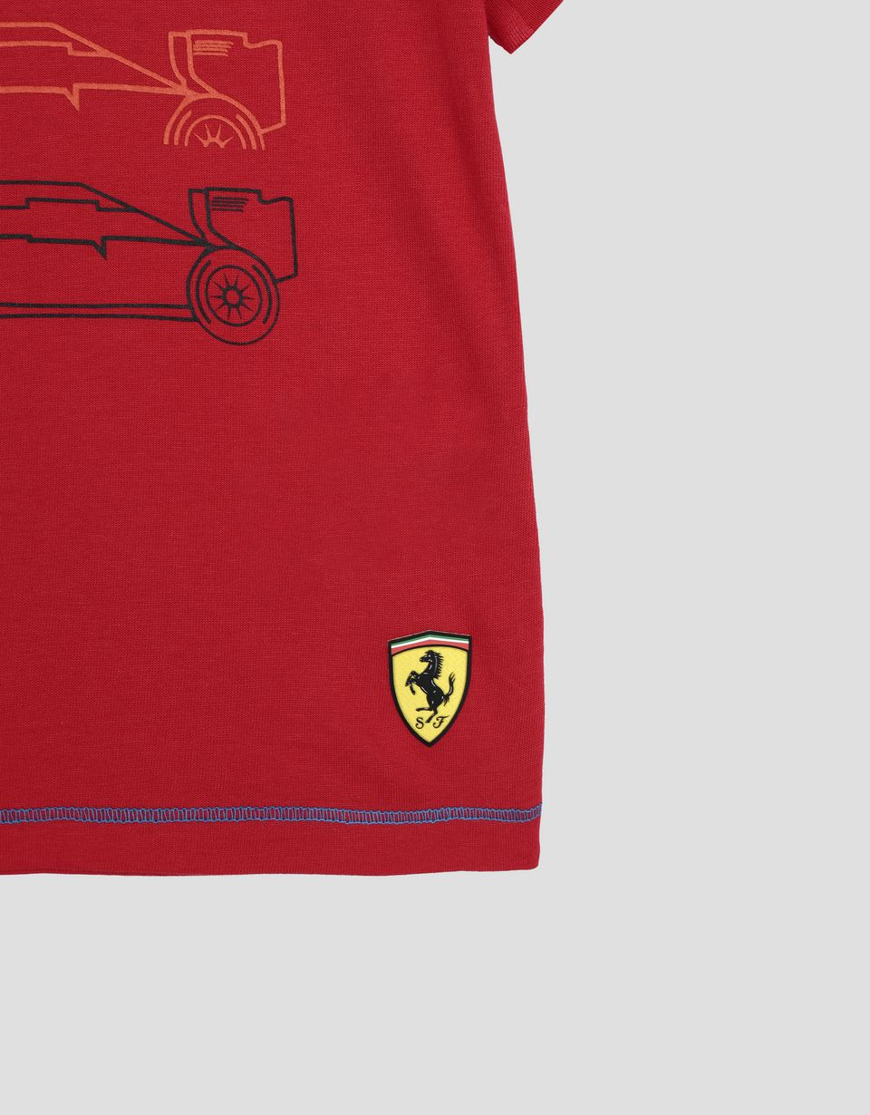 Scuderia Ferrari Online Store - Children's cotton jersey T-shirt with racing print - Short Sleeve T-Shirts