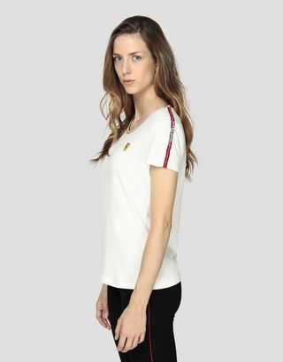 Scuderia Ferrari Online Store - Women's cotton jersey T-shirt with Icon Tape - Short Sleeve T-Shirts