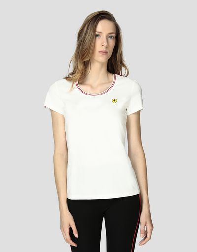 T-shirt donna in jersey di cotone con Icon Tape