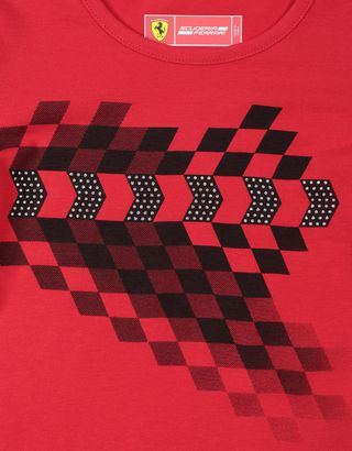 Scuderia Ferrari Online Store - 女孩弹力平纹针织格纹图 T 恤 - Short Sleeve T 恤