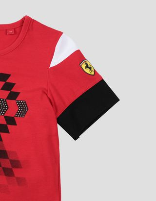 Scuderia Ferrari Online Store - Girl's stretch jersey T-shirt with chequered motif - Short Sleeve T-Shirts