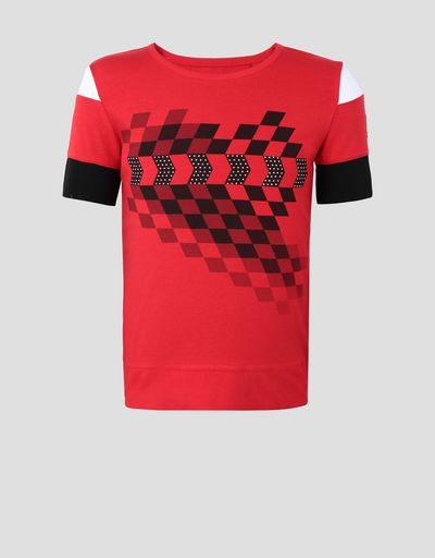 Girls' stretch jersey T-shirt with checkered flag pattern