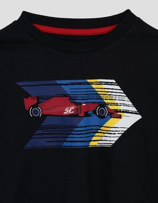Scuderia Ferrari Online Store - Kinder-T-Shirt aus Baumwolljersey mit Aufdruck - Kurzärmelige T-Shirts