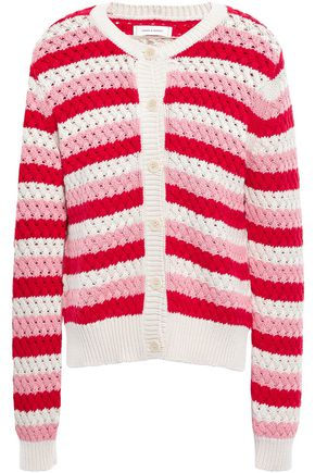 CHINTI AND PARKER Striped crochet-knit cotton cardigan