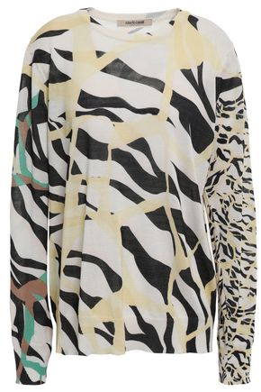 ROBERTO CAVALLI Zebra-print cotton and silk-blend sweater