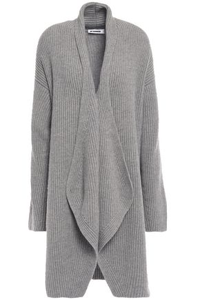 JIL SANDER Draped ribbed wool and cashmere-blend cardigan