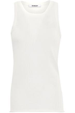 CHALAYAN Open knit-paneled cotton-blend top