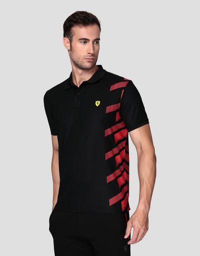 Herren-Poloshirt aus technischem Pikee mit Druck