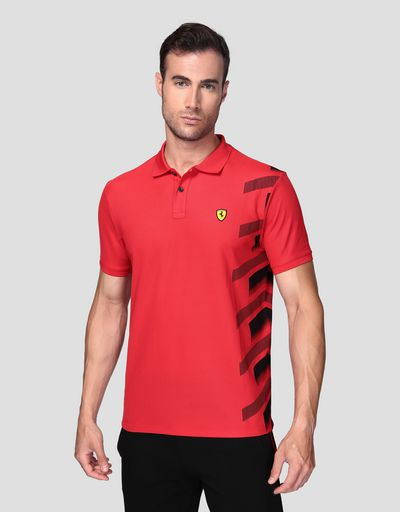 Men's technical piquet polo shirt with print