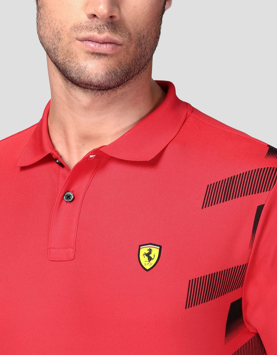 Scuderia Ferrari Online Store - Men's technical piquet polo shirt with print - Short Sleeve Polos