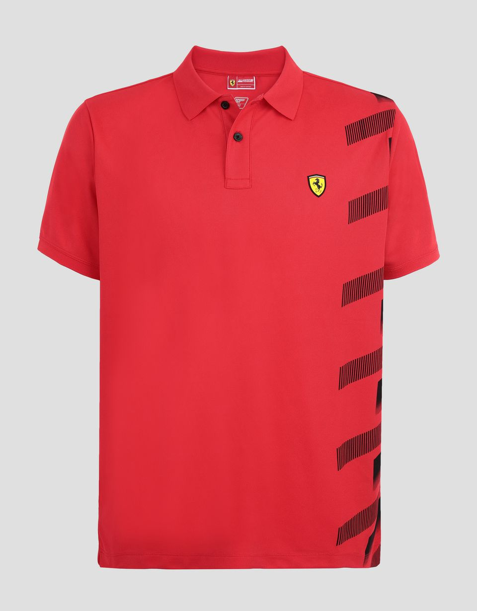 Scuderia Ferrari Online Store - Men's polo shirt in technical piqué with print - Short Sleeve Polos