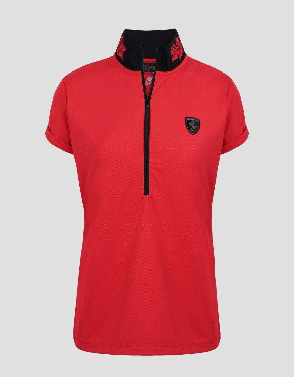Scuderia Ferrari Online Store - Polo de mujer con bordado de laurel - Polos de manga corta