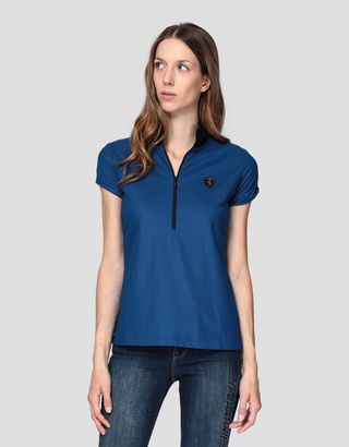 Scuderia Ferrari Online Store - Damen-Poloshirt mit Lorbeerstickerei - Kurzärmelige Poloshirts