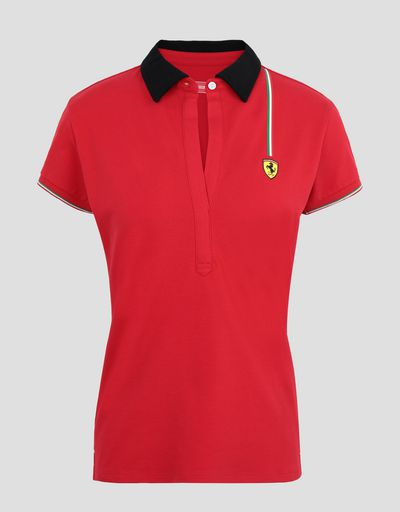 Scuderia Ferrari Online Store - Women's cotton piquet polo shirt with Italian flag - Short Sleeve Polos