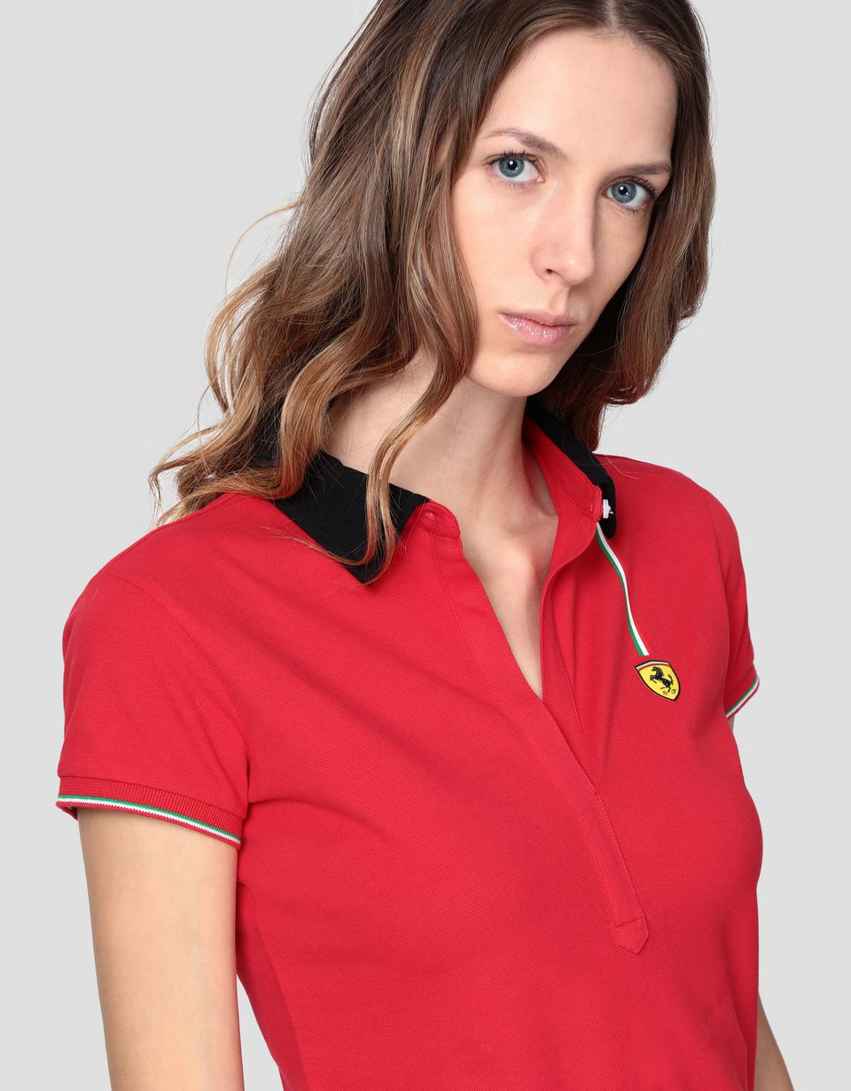 Scuderia Ferrari Online Store - Women's cotton piqué polo shirt with three-colour detail - Short Sleeve Polos