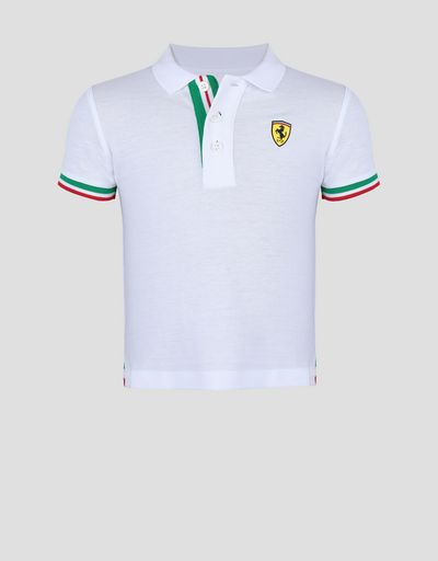 Cotton pique children's polo shirt with Italian flag