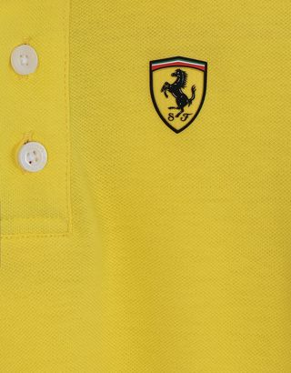 Scuderia Ferrari Online Store - Cotton pique children's polo shirt with Italian flag - Short Sleeve Polos