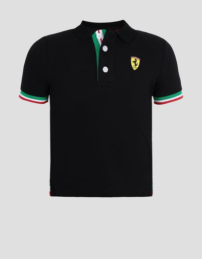 Children's cotton pique polo shirt with three-colour band