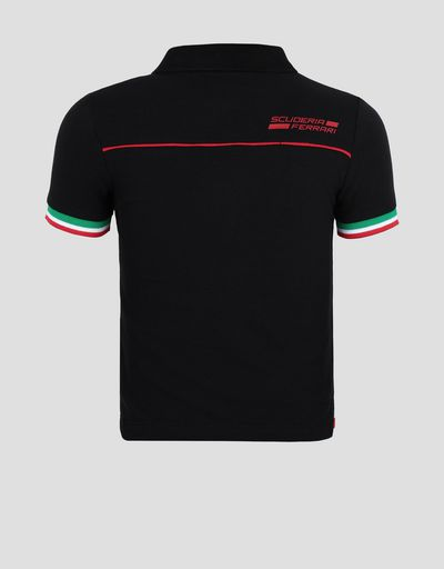 Polo shirt for teens with Italian flag