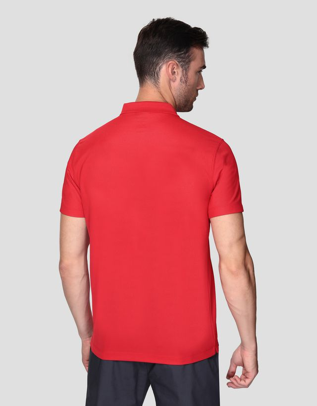 Scuderia Ferrari Online Store - Men's polo shirt with zip and print - Short Sleeve Polos