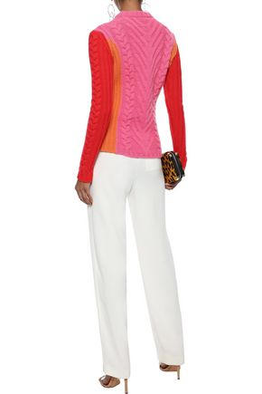 EMILIO PUCCI Color-block cable-knit wool sweater