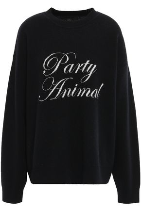 ALEXANDER WANG Oversized jacquard-knit wool and cashmere-blend sweater