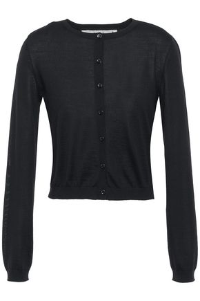 REDValentino Point d'esprit-trimmed cashmere-blend cardigan