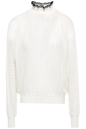 MAJE Ruffled pointelle-knit wool-blend sweater
