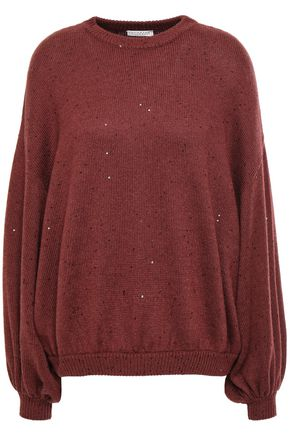 BRUNELLO CUCINELLI Sequin-embellished cashmere and silk-blend sweater