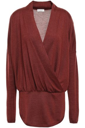 BRUNELLO CUCINELLI Wrap-effect cashmere and silk-blend sweater