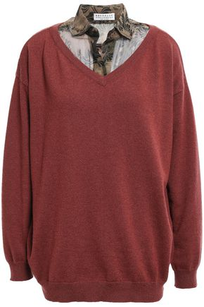 BRUNELLO CUCINELLI Layered bead-embellished cashmere and silk-blend sweater