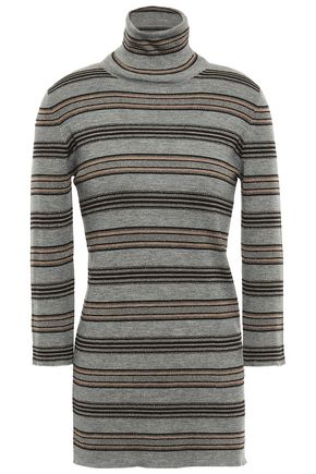 BRUNELLO CUCINELLI Metallic striped wool and cashmere-blend turtleneck top