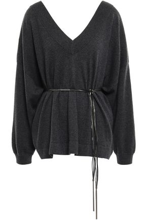 BRUNELLO CUCINELLI Belted bead-embellished cashmere sweater