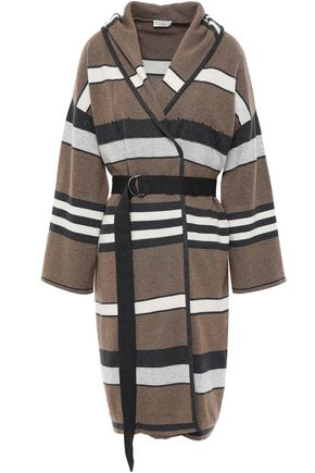BRUNELLO CUCINELLI Belted embellished striped cashmere hooded cardigan