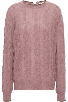 BRUNELLO CUCINELLI Bead-embellished cable-knit sweater