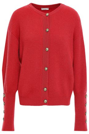 BRUNELLO CUCINELLI Button-detailed ribbed cashmere cardigan