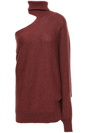 BRUNELLO CUCINELLI Cutout embellished cashmere and silk-blend turtleneck sweater
