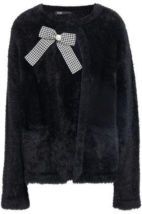 MAJE Bow-embellished faux fur jacket