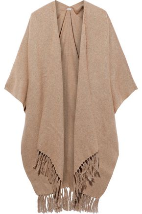 BRUNELLO CUCINELLI Tassel-trimmed metallic brushed knitted wrap