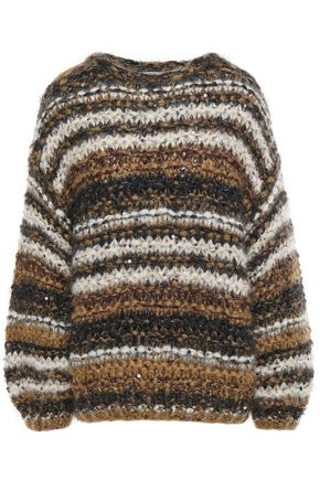 BRUNELLO CUCINELLI Sequin-embellished striped mohair-blend sweater