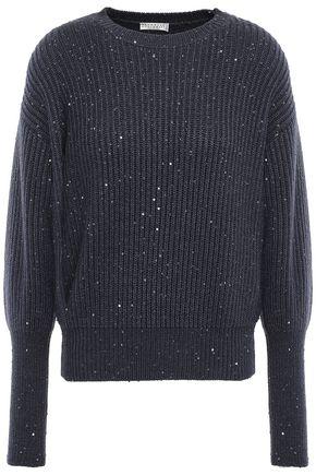BRUNELLO CUCINELLI スパンコール付き リブ編みカシミヤ&シルク混 セーター