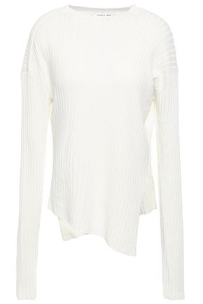 HELMUT LANG Asymmetric ribbed paper-blend sweater