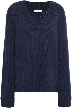 DUFFY Open knit-paneled wool-blend sweater