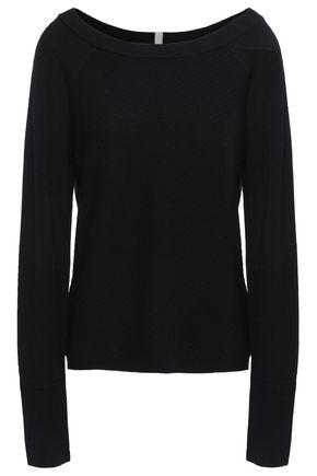DUFFY Paneled textured merino wool sweater