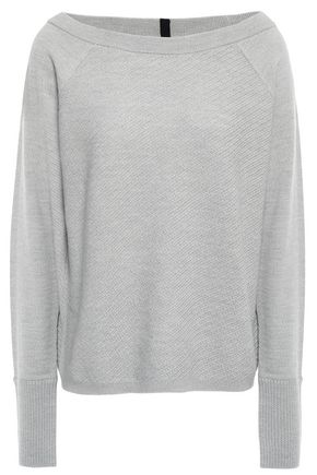 DUFFY Paneled textured merino wool sweater