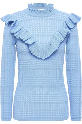 SANDRO Ruffled pointelle-knit top