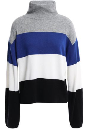 VERONICA BEARD Faber color-block cashmere turtleneck sweater