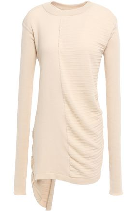 RICK OWENS Asymmetric paneled ribbed cotton top