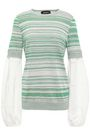 ROCHAS Crepe de chine-paneled cotton-blend sweater
